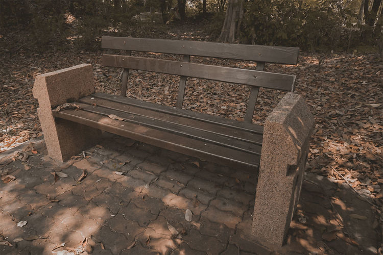 High angle view of empty bench in park
