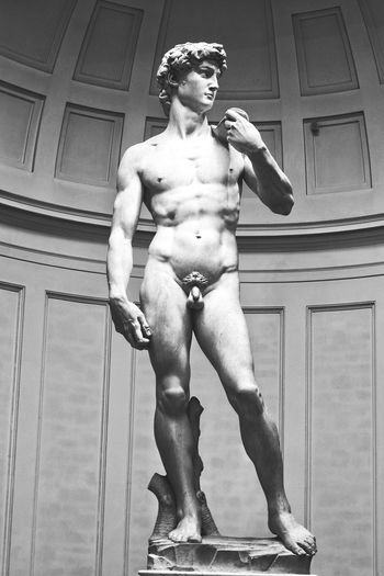 Statue of David Black And White Monochrome Statue Statue Of David Sculpture Marble Famous Place Historical Muscular Build Full Length Shirtless Front View Masculinity Male Likeness Carving - Craft Product Human Representation Sculpted