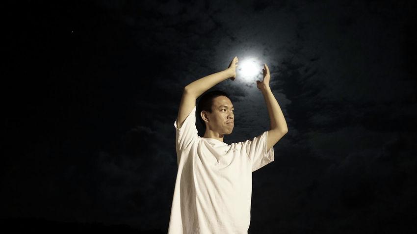 Alone Full Moon Men Moon Catcher Standing