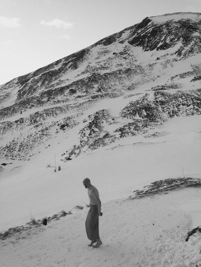 Beauty In Nature Cold Temperature Day Eeyem Photography Full Length Landscape Leisure Activity Lifestyles Men Mountain Mountain Range Nature One Person Outdoors Real People Rear View Scenics Sky Snow Standing Vacations Warm Clothing Week On Eyeem Winter This Is Masculinity