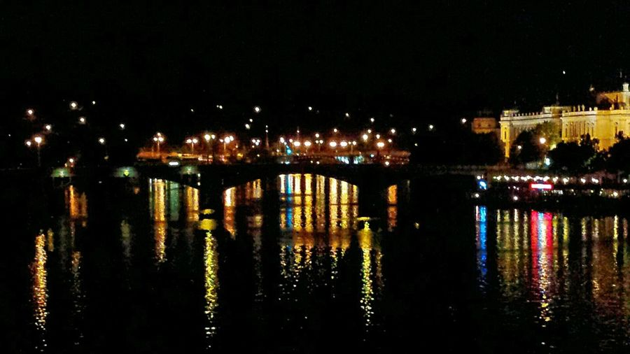 I Love Prague Visiting Prague Prague At Night Night Lights Bridges Bridge View Charles Bridge My Best Photo 2015 Sights & Views  Water Reflections Mirroring Seeing The Sights Sightseeing Enjoying The Sights Night Photography Night View Night City