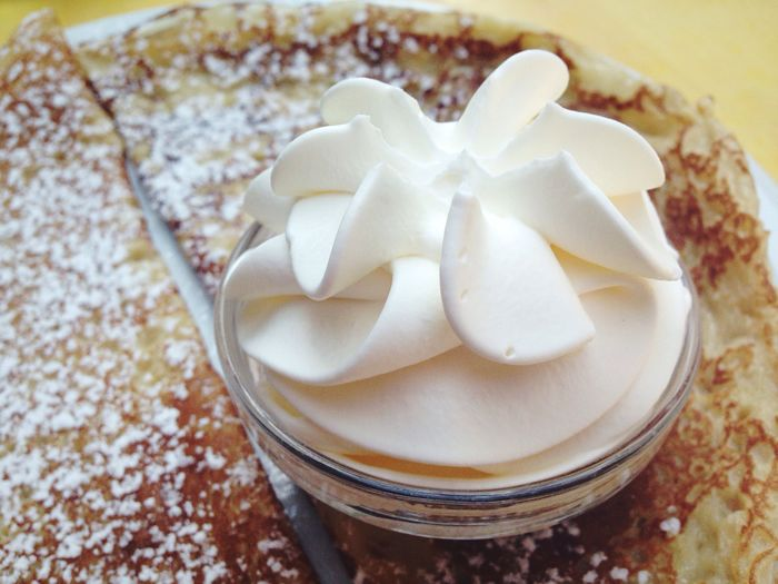 Close-Up Of Pancake With Whipped Cream