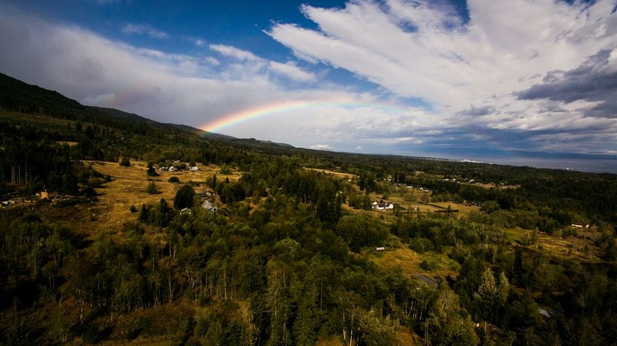 Rainbow after rainstorm in Port Angeles, WA, USA Cloudscape Dronephotography Droneoftheday Drone  Clouds And Sky Rainbow Sky Rainbow Clouds Aerial View Skyporn Skyscape Sky_collection Djiphantom3