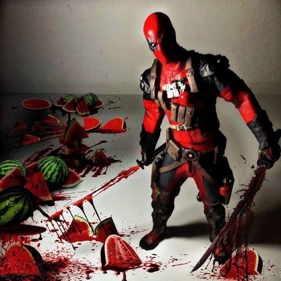 DEADPOOL vs WATERMELON 😂 ... Toys Toygallery Toygroup_alliance Actionfigurephotography Marvelmovies Deadpool Action Figures Fruits Watermelon🍉