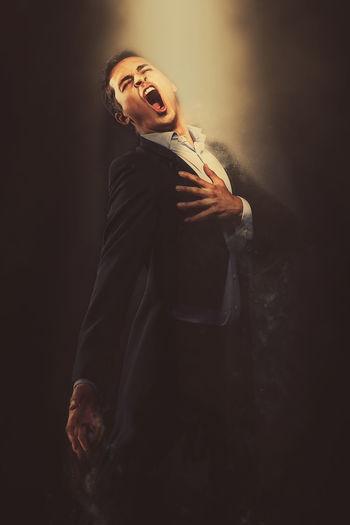 Portrait of singing man