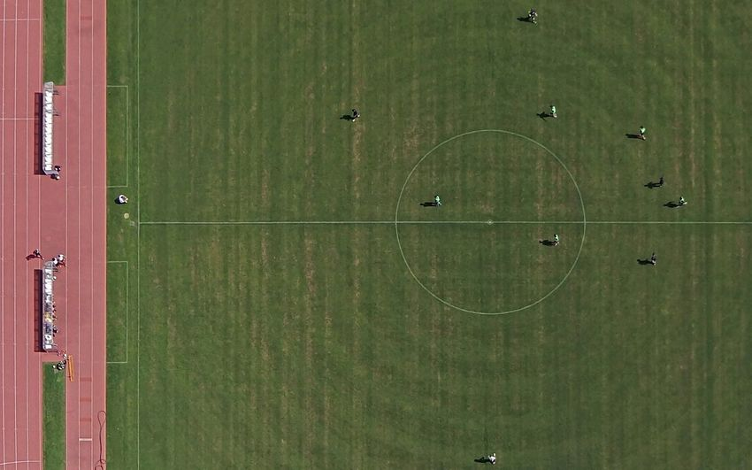Directly Above Shot Of Player Playing On Soccer Field