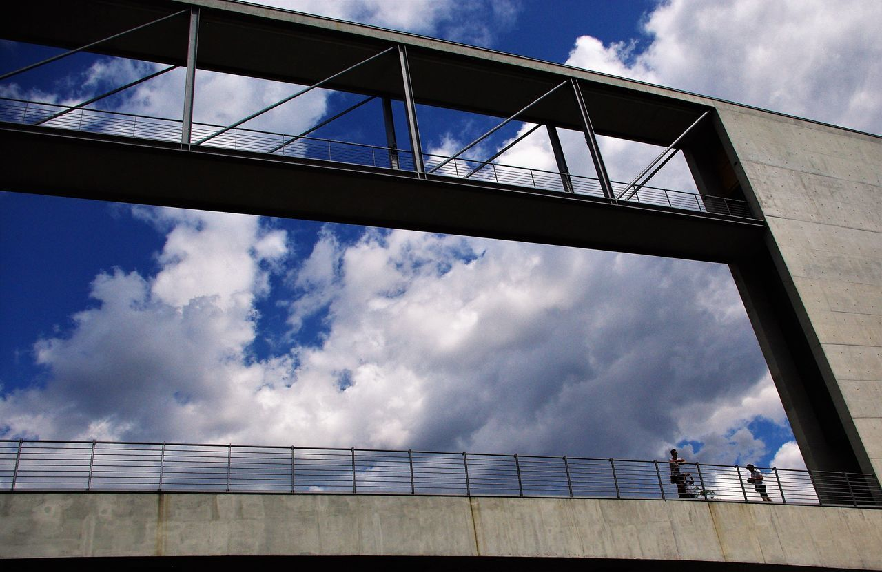 cloud - sky, sky, railing, architecture, low angle view, day, built structure, outdoors, no people, building exterior, nature