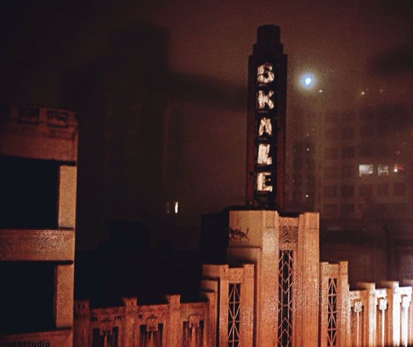 Downtown LA Noir DowntownLA Art Deco Architecture Mysterious Foggy Neon Sign No People Canon Landscapes With WhiteWall The Architect - 2016 EyeEm Awards