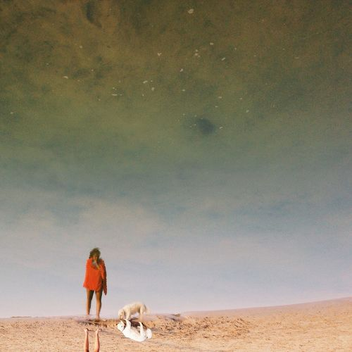 Woman and dog reflecting in water at beach
