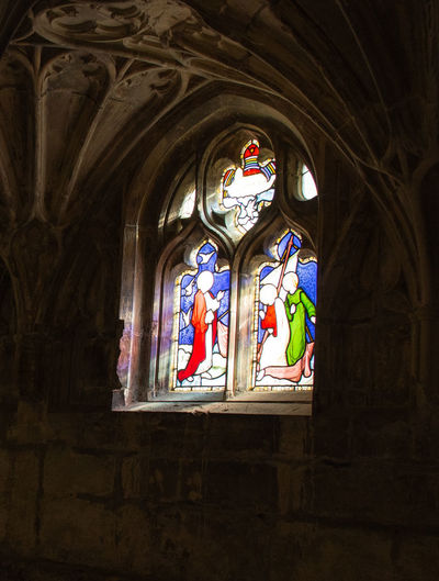Religion Belief Place Of Worship Spirituality Stained Glass Window Glass Low Angle View Indoors  HDR Gloucester Cathedral