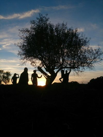 Happy family sunset