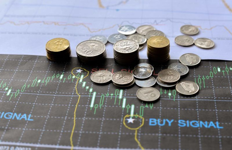 Mixed Malaysian Ringgit coins on financial graph background. Business concept. Bitcoin and Forex trading investment concept. Chart Close-up Coin Currency Day Finance Graph Indoors  Large Group Of Objects No People Savings Wealth