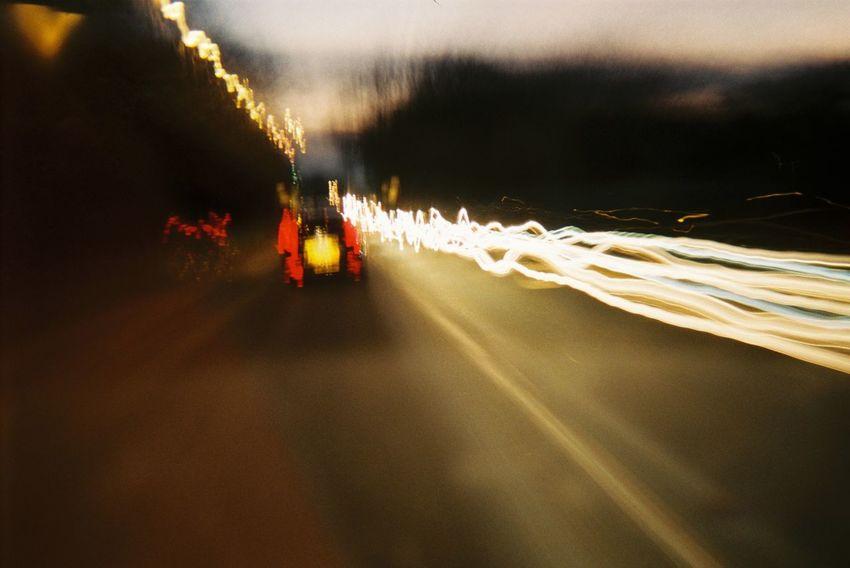 Capturing Movement EyeEm Best Shots The Purist (no Edit, No Filter) No Edit/no Filter Light Leak Bulbexposure Night Lights Speed Traffic Flow Lights Built By My Self. Bulbphotography Analog Camera Lomography Konstruktor