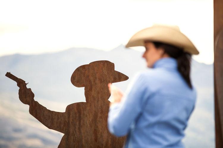 Woman imitating sculpture