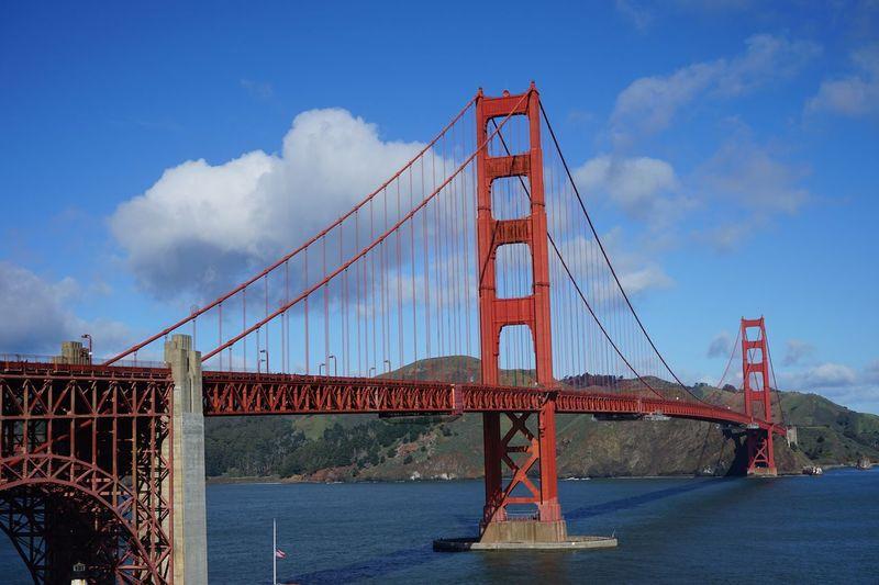 Gold Bridge San Francisco Sky Built Structure Architecture Cloud - Sky Bridge Bridge - Man Made Structure Transportation