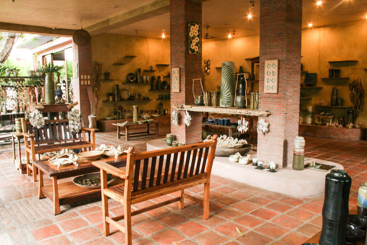 Arrangement Bench Chair Chimes Group Of Objects Illuminated Indoors  Large Group Of Objects No People Philippines Restaurant Table Warm Colors