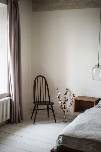Empty chairs and table against wall at home