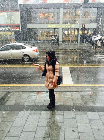Snow Flake Winter Winter Fashion Cold Temperature Lifestyles Outdoors Snow Standing Streetstyle Young Adult