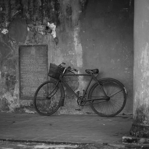 Transportation Bicycle Land Vehicle Mode Of Transportation Wall - Building Feature Architecture Built Structure Stationary Day Old Building Exterior No People Wall Abandoned Outdoors Building Damaged Footpath Leaning Sidewalk Deterioration
