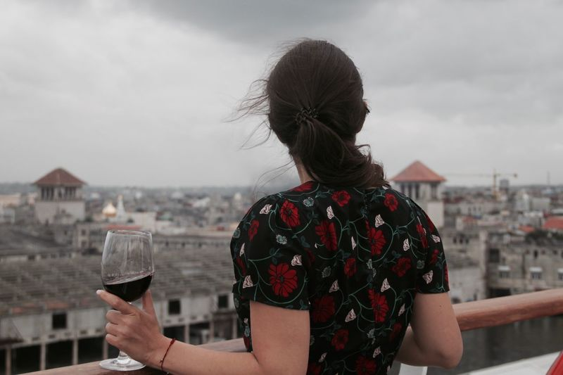 Rear View Of Woman Holding Wine Glass Against Cityscape