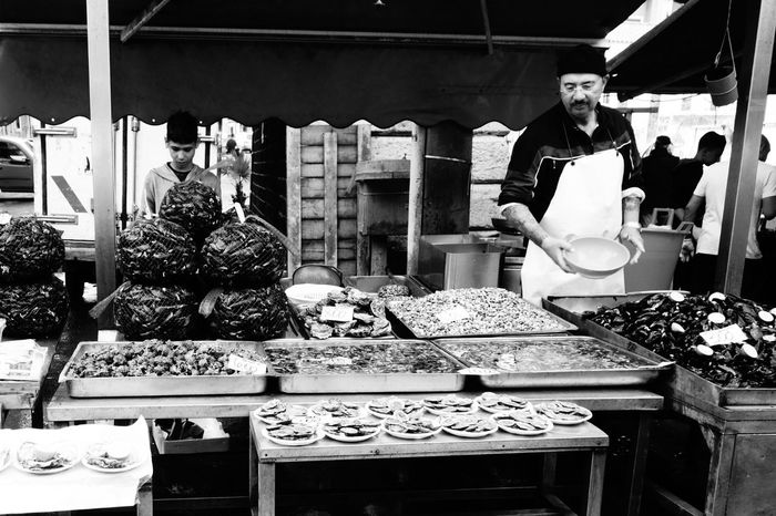 Father & Son Seafoods Mobilephotography Shadows & Lights Blackandwhitephotography City Life Real People Store Retail  Business Finance And Industry For Sale Farmer Market Fish Market
