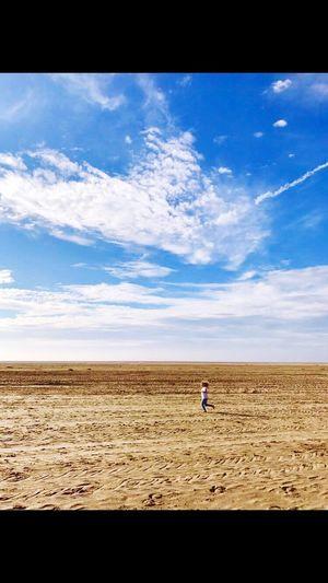 First Eyeem Photo Daughter Running Free Beach Clouds Sunshine Fun England Hoylake Wirral Blue Sky Wirral Peninsula United Kingdom Sand Clouds And Sky EyeEmNewHere