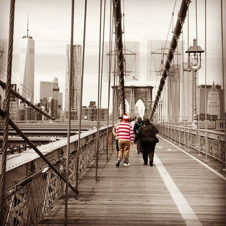 Where's Waldo? Brooklyn Bridge  NYC Photography New York City The Great Outdoors - 2015 EyeEm Awards Skyline NYC Skyline World Trade Center Bridge Bridgesaroundtheworld Picturing Individuality Seeing The Sights