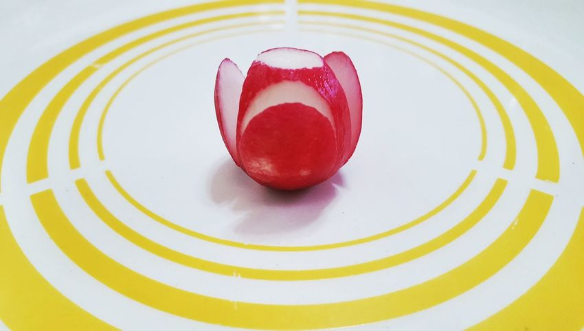 Radish Vibrant Color No People Abstract Photography Abstracts Abstract Nature High Angle View Center Food State Platedesigning Plate Decoration Plated Food Table Freshness Food And Drink Close-up Gourmet Plate