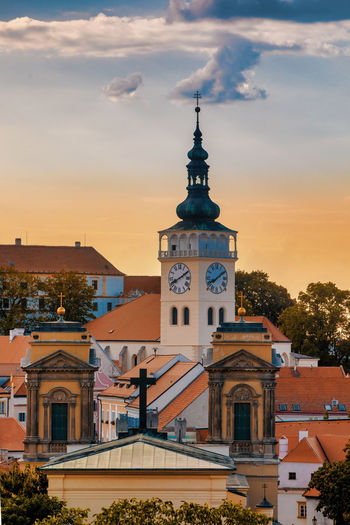 Architecture Built Structure Building Exterior Sky Building Cloud - Sky Sunset Tower Religion City Place Of Worship Nature No People Belief Spirituality Tree Travel Destinations Orange Color Outdoors Clock Spire  Mikulov Czech Republic Cityscape