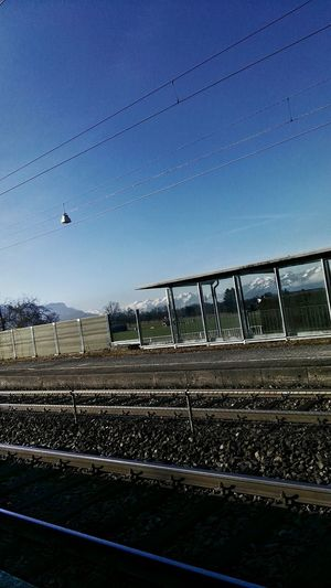 Lines And Shadows Bahnhof Schwarzach Vorarlberg  Outdoors Sky Februar 2017 Lines In The Sky Railway Station Railwaystation Railway Station Platform Gleise Schienen Diagonalen Dreiecke