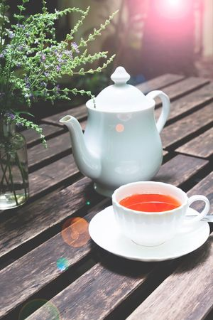 Set of tea break on wooden table in cafe or restaurant Cafe Close-up Coffee Cup Day Drink Food Food And Drink Freshness Healthy Eating Herbal Tea No People Outdoors Refreshment Relaxation Restaurant Sunlight Table Tea - Hot Drink Tea Break Tea Cup Teapot Wood - Material