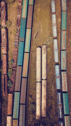 High angle view of abandoned trains at shunting yard