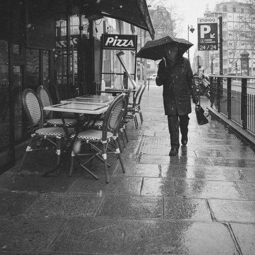 Full length of man with umbrella on rainy day