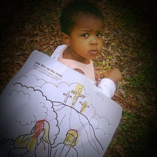 Her sweet picture she colored in her Sunday school class! HerTeacherWasImpressed HeSaidSheColorsBeautifully Awww HeWearsOveralls AndHasTattoos WhatsCoolerThanThat JesusDiesOnTheCross Oursaviour Happyeaster LilosWorld