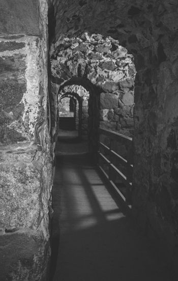 Shades Of Grey Suomenlinna Black & White Fortress Wall Tunnel Stone Cellar Architecture Arch