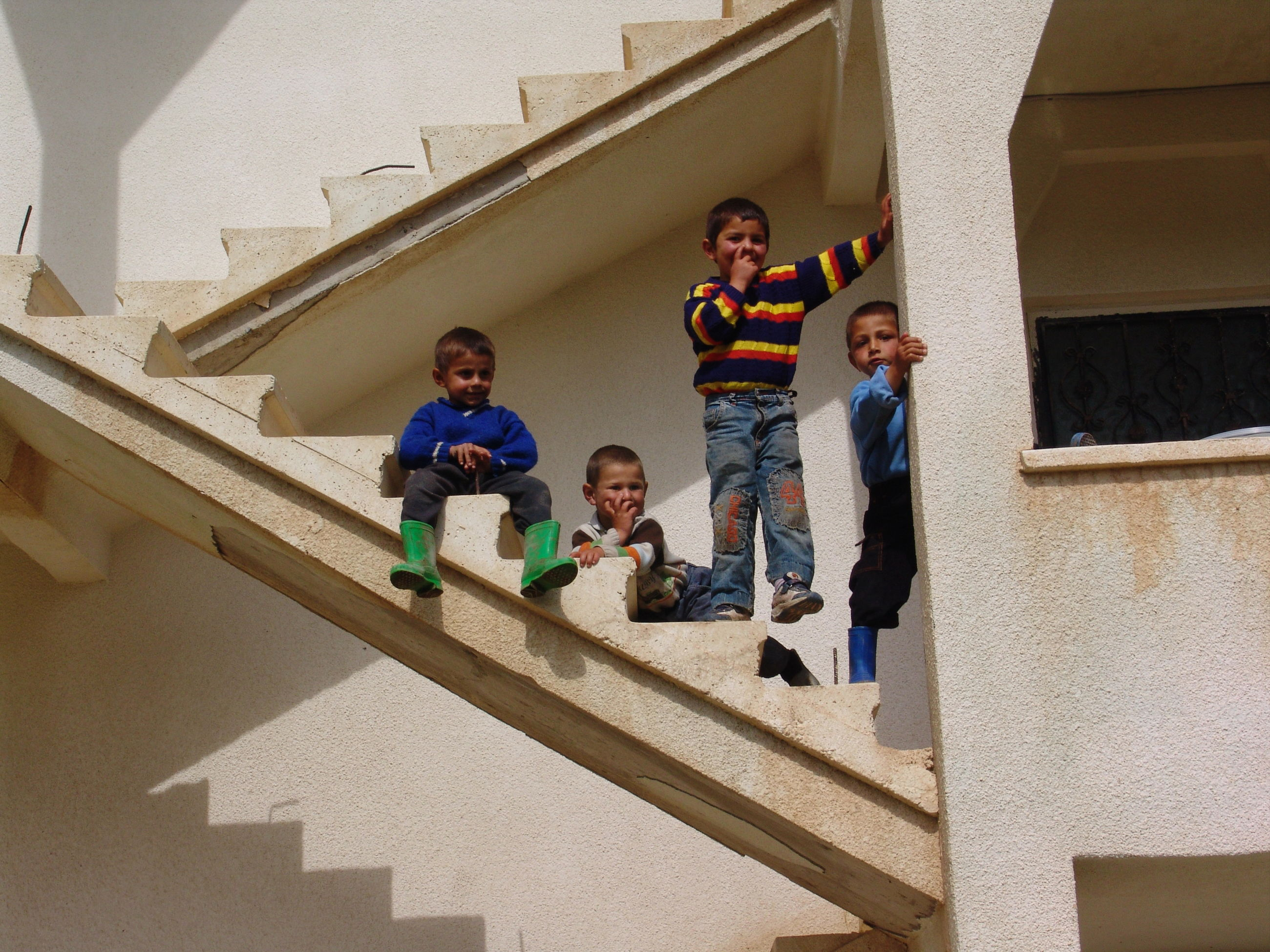 childhood, steps, boys, staircase, steps and staircases, elementary age, leisure activity, full length, standing, built structure, real people, front view, togetherness, smiling, architecture, portrait, mature men, looking at camera, lifestyles, casual clothing, day, son, girls, low angle view, building exterior, happiness, playing, outdoors, bonding, men, young women, child, cardboard box, young adult, people
