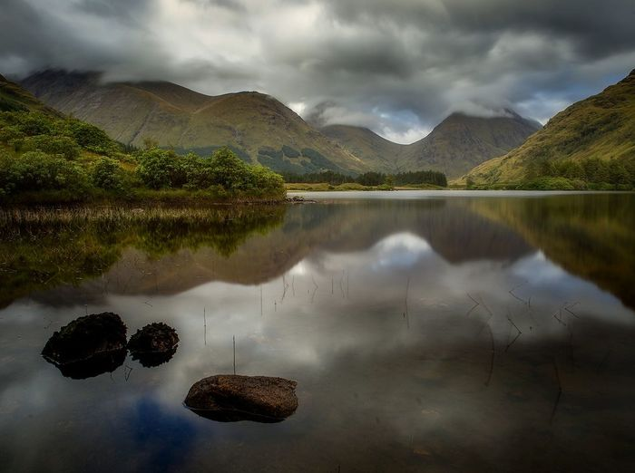 Lochan Urr, Glencoe Reflection Mountain Landscape Dramatic Sky Nikonphotography Glencoe Mountains And Valleys Longexposure Long Exposure Reflection Tranquility Tree_collection  Water Travel Destinations Scotland 💕 Winding Road Scotland