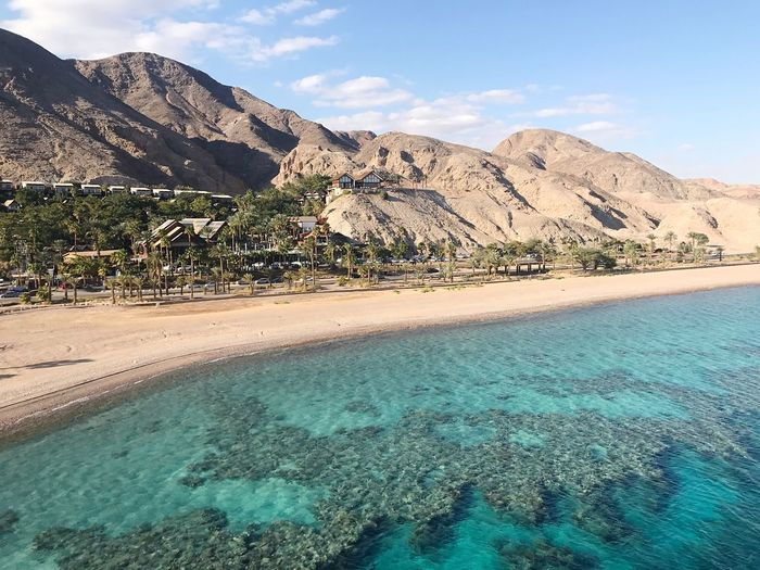 The Red Sea is quite turquoise Israel Red Sea Tranquility Beauty In Nature Tranquil Scene Scenics - Nature Land Nature Water No People Beach Idyllic Travel Destinations Blue