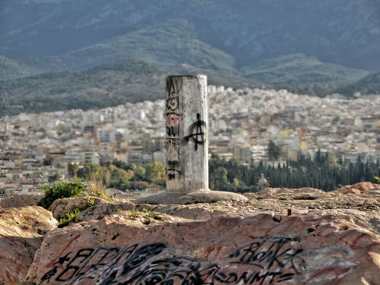 Athens Athens, Greece Mousson Hill Filopapou Sky And Clouds City From Above Graffiti Graffiti Writers Edited