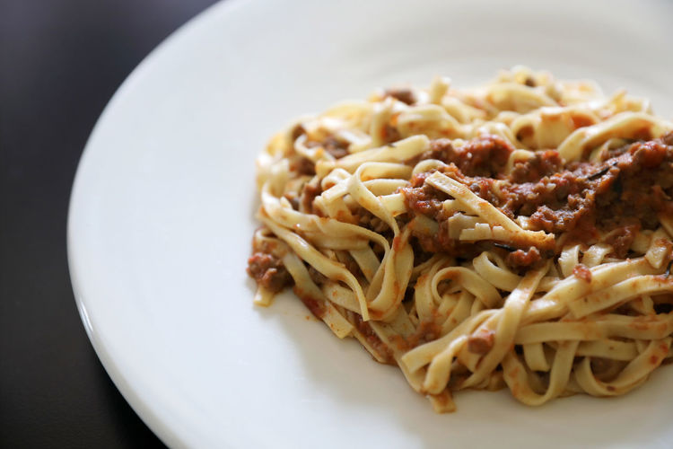 Spaghetti Bolognese Bolognese Spaghetti Food Plate Food And Drink Ready-to-eat Pasta Italian Food Serving Size Meal High Angle View Meat