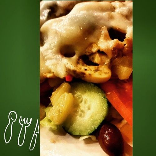 Latergram Whatsfordinner dinner last night, chicken panini salad! Delish Yummo salad veggies fruit pineapple lifeisgood lifeisbetterinCOLOR mystory114 instafood food eatwithyoureyes date dinnerdate healthnut healthly olives jersey