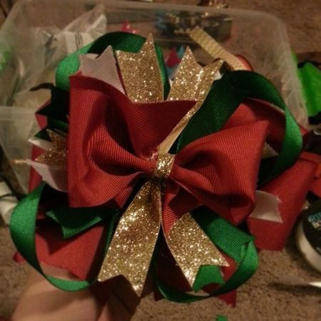 Merry Christmas Hairbows! Taking orders now at carlymwatts@gmail.com! This is the large Christmas stack bow. Hairbows  Hairbow MerryChristmas Christmastime girls bows