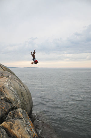 Boy Friends Fun Gothenburg Jump One Animal Photography Playing Sea Summer Summer Night Sunset Sweden Teenager Water