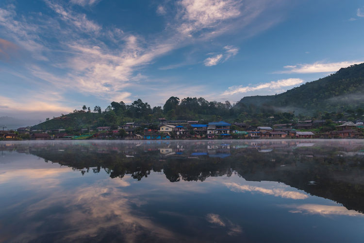 Village reflections Cloud - Sky Sky Reflection Lake Mountain Tranquility Village Village View Mae Hong Son Chinese Village Mountain View Mountain Village Water Scenics - Nature Town Reflection House Outdoors Thailand ASIA Asia Village