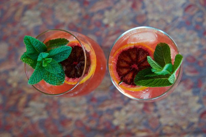Wine spritzer cocktails with mint and blood orange garnish. Alcoholic Drink Blood Oranges Close-up Cocktails Freshness Garnish Indulgence Mint No People Still Life Wine Spritzer The OO Mission Colour Of Life