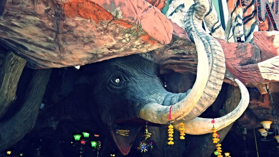Wooden elephant carving in Phuket, Thailand. Elephant Tusk Wood Carving Ears