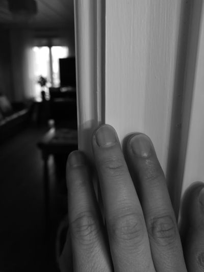 should i ?! Finger Monochrome Blackandwhite Light And Shadow Mypointofview Close-up Shyness Human Hand Close-up Body Part Personal Perspective