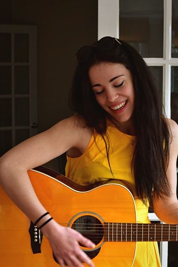 Music Guitar Plucking An Instrument Playing Young Women One Person Casual Clothing Lifestyles Arts Culture And Entertainment Classical Guitar Healthy Lifestyle Young Adult Leisure Activity Guitarist Indoors  Portrait People String Instrument Smiling Musical Instrument (null)EyeEmNewHere Springtime Day Country Life The Portraitist - 2017 EyeEm Awards Paint The Town Yellow