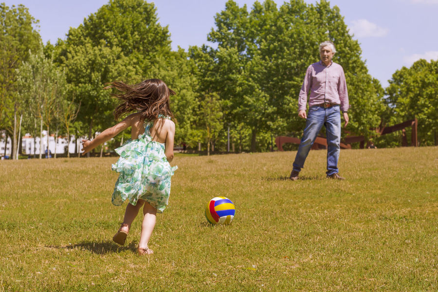 Grandfather and grandson playing with a ball on the city park Ball Boys Casual Clothing Child Day Enjoyment Field Full Length Fun Girls Grandfather And Grandson Grass Green Color Happiness Leisure Activity Mid-air Motion Outdoors Playing Real People Running Smiling Tree Two People