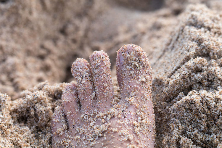 Close-Up Of Sand Covered Barefoot On Beach